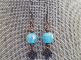 Copper and faceted aqua beaded drop earrings