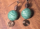 Copper and teal drop earrings