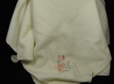 Cream Fleece Baby Blanket With Embroidered Duck And Balloons