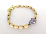 Glazed natural oval and Baroque Pearl Bracelet