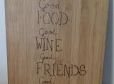good food,good wine,good friends,good times bamboo cutting board,Engraved Cutting Board,birthday Gift,Handwritten Recipe Cutting Board