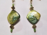 Green-dyed abalone drop earrings