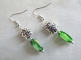 Green glass and silver drop earrings