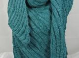 Hand Knitted Women's Green Aran Ribbed Triangular Shawl