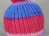 Hand Knitted Women's Striped Winter Hat With Bright Pink Pom Pom