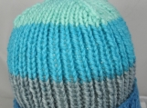 Hand Knitted Women's Striped Winter Hat With Light Blue Pom Pom