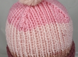 Hand Knitted Women's Striped Winter Hat With Light Pink Pom Pom