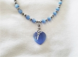 Key to My Blue Heart beaded necklace