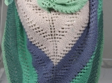 Knitted Womens Blue, Green, Pink Striped Triangular Lace Shawl