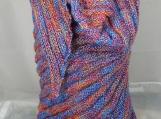 Knitted Womens Blue, Pink, Orange And Purple Triangular Shawl