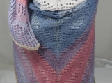 Knitted Womens Blue, Pink, White Striped Triangular Lace Shawl