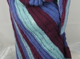 Knitted Womens Blue, Turquoise And Burgundy Triangular Shawl