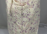 Knitted Womens Cream And Purple Flecked Triangular Lace Shawl