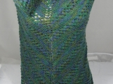 Knitted Womens Green, Blue Random Triangular Lace Effect Shawl