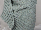 Knitted Womens Green Flecked Aran Ribbed Triangular Shawl