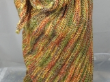 Knitted Womens Green, Orange, Brown And Yellow Random Ribbed Tr