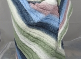 Knitted Womens Green, Pink, White And Blue Triangular Shawl