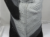Knitted Womens Grey And Black Striped Triangular Lace Shawl