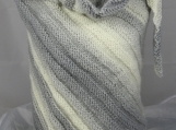 Knitted Womens Grey And Cream Striped Ribbed Triangular Shawl