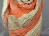 Knitted Womens Orange,Cream, Fawn Ribbed Triangular Shawl
