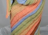 Knitted Womens Orange, Green, Blue And Brown Triangular Shawl