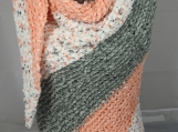 Knitted Womens Orange, Grey And White Striped Triangular Shawl