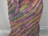 Knitted Womens Pink, Yellow, Grey And Green Triangular Shawl