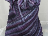 Knitted Womens Purple, Blue And Grey Ribbed Triangular Shawl
