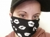 lips print 5 pack,adult reusable face mask,blue,handmade,washable,cotton dust mask,.quarantine birthday gift.lightweight fabric,handmade.