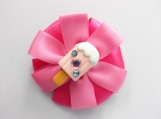 Popsicle pink flower Hair bow