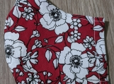 Red floral reusable fabric face mask with filter pocket