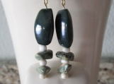 Rhyolite and green stone drop earrings