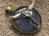 Silver Steer Skull Pendant with Chain #3075