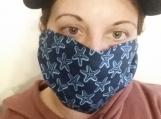 star fish beach print 5 pack adult reusable face mask,blue,handmade,washable,cotton dust mask,.quarantine birthday gift