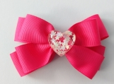 Stars in heart pink hair bow