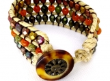 Triple Strand Natural Cord and Bead Bracelet