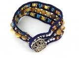 Triple Strand Navy Blue Suede Bracelet