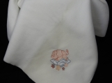 White Fleece Baby Blanket With Embroidered Elephant