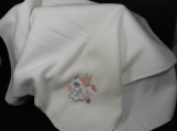 White Fleece Baby Blanket With Embroidered Flying Horse