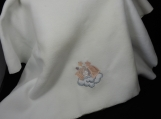 White Fleece Baby Blanket With Embroidered Teddy Bear
