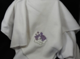 White Fleece Baby Blanket With Embroidered Purple Teddy Bear
