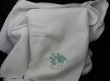 White Fleece Baby Blanket With Embroidered Turquoise Teddy Bear