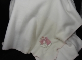 White Fleece Baby Blanket With Embroidered Pink Teddy Bear