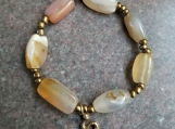 Agate Bracelet with Snake Charm