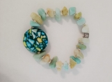 Amazonite Chip Bracelet with Multi-colored Howlite Stone Center