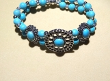 Beautiful Turquoise Colored Beaded Stretch Bracelet