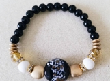 Black w/Gold and White Beaded Glass Bracelet, Beaded Bracelet