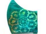 Blue Green Floral Batik Mask