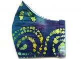 Blue Green Spiral Batik Mask