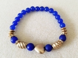 Blue Jade and Gold Beaded Glass Bracelet, Beaded Bracelet